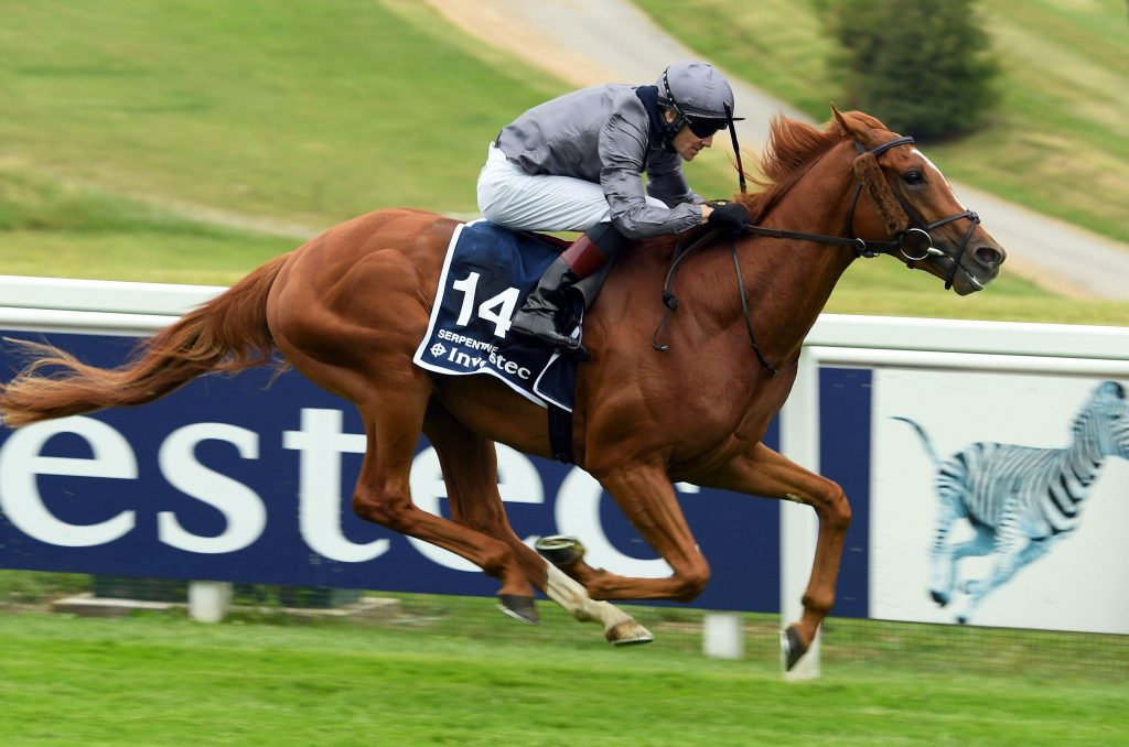 Horse Racing - Derby Festival - Epsom Downs Racecourse, Epsom, Britain - July 4, 2020 Serpentine ridden by Emmet McNamara wins the Investec Derby, as racing resumed behind closed doors after the outbreak of the coronavirus disease (COVID-19) Bill Selwy