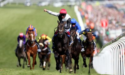 Frankie Dettori celebrates his victory on Golden Horn in the Investec Derby on Derby Day of the 2015 Investec Derby Festival at Epsom Racecourse, Epsom.